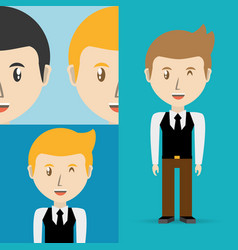 Set avatars men of different diversity vector