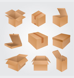 set cardboard boxes isolated on white vector image