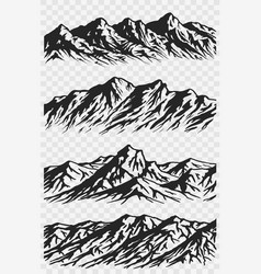 set of mountain range silhouettes vector image
