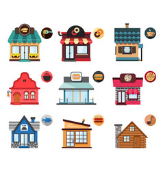 set of stylized of restaurant objects vector image