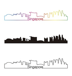 Singapore skyline linear style with rainbow vector image