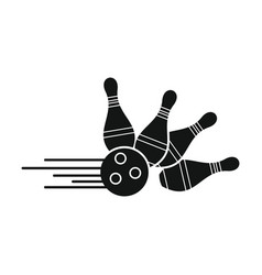 Skittle for bowling in silhouette style vector