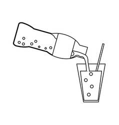 soda bottle serving cup black and white vector image