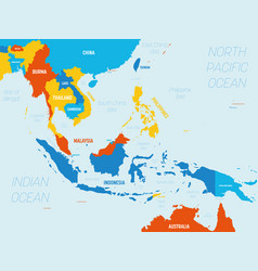 Southeast asia map - 4 bright color scheme high vector