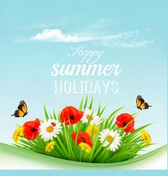 summer holiday background with a green grass and vector image