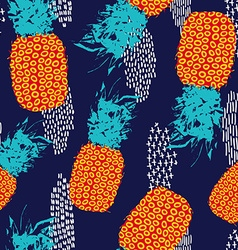 Summer seamless pattern with retro color pineapple vector image
