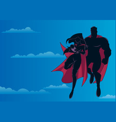 super mom dad and baby sky silhouette vector image