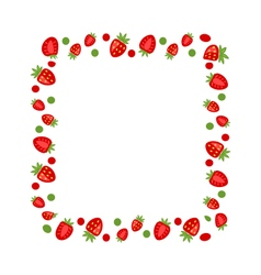 Sweet Frame Made of Strawberry vector image