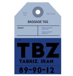 Tabriz airport luggage tag vector