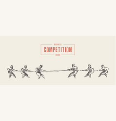 two teams rope competition contest concept vector image