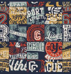 vintage american college sporting badges patchwork vector image