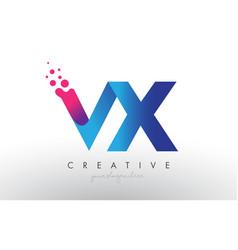 Vx letter design with creative dots bubble vector