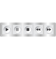 White black music control buttons with screws vector