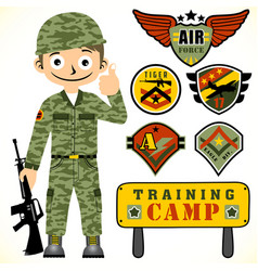 Young army and set army logo with training vector