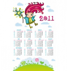 2011 calendar with sweet fairy vector image vector image