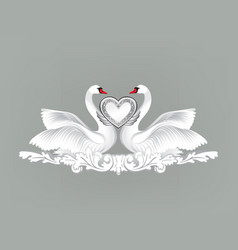 birds in love with floral decoration couple of vector image vector image