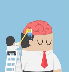 Businessman wash and clean the brain of his vector