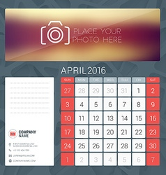 Desk calendar for 2016 year april stationery vector