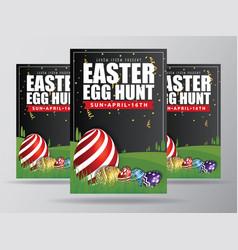easter egg hunt flyer template design vector image