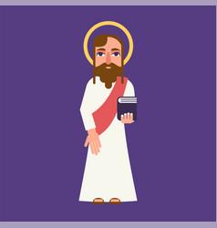 jesus christ cartoon flat character vector image