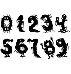monsters numbers set vector image vector image