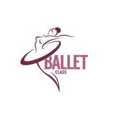 Silhouette of beauty ballet dancer logo template vector