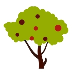 Tall tree with fruits icon flat style vector image