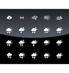 Weather icons on black background vector image