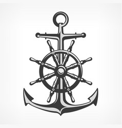 anchor with steering wheel vector image vector image