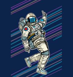 astronaut dancing disco funny vector image vector image