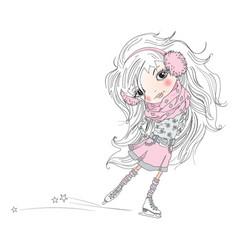 Cartoon little girl vector image