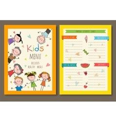 Cute colorful kids meal menu template vector image