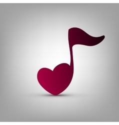 Heart shaped musical note vector image