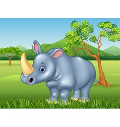 Cartoon rhinoceros in the jungle vector image vector image