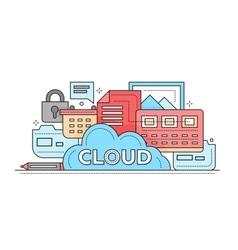 Cloud Storage Technology - flat line design vector image vector image