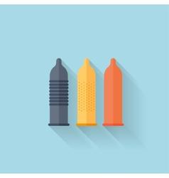 Flat web internet icon Colored condoms vector image