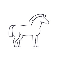 horse line icon sign on vector image