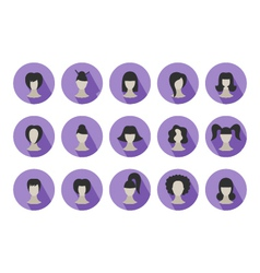 Set of flat icons of hairstyles for woman vector image