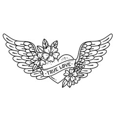 tattoo flying heart with wings ribbontrue love vector image vector image