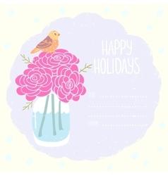 vase flowers greeting card vector image