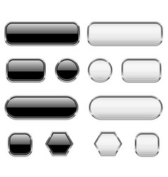 white and black buttons glass 3d icons with vector image vector image