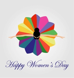 Womens day card with a dancing woman vector image vector image