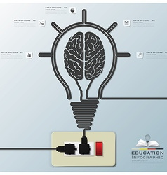 Brain Light Bulb Electric Line Education vector image