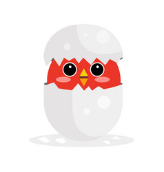 cute newborn red bird character funny nestling in vector image