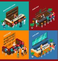 People in bar isometric 2x2 design concept vector