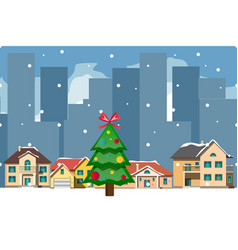 xmas card with a decorated snowy old town vector image