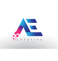 Ae letter design with creative dots bubble vector
