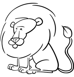 African Lion Cartoon for coloring vector image