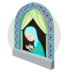 Arabic girl praying inthe window vector
