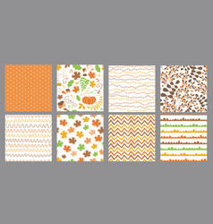 autumn seamless patterns set fall thanksgiving vector image